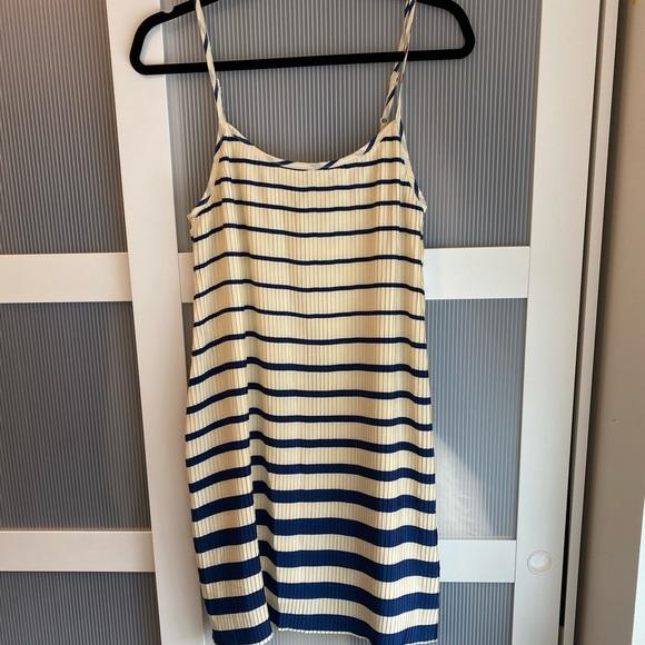 Mango pleated, striped dress